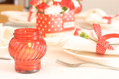 Tableware in red and white colors Stock Image