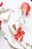 Tableware in red and white colors Stock Images
