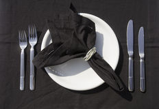 Tableware at a restaurant. Place setting, tableware at a restaurant (top view Royalty Free Stock Images