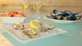 Tableware seafood stock footage