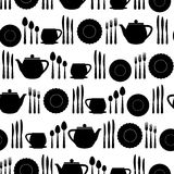 Tableware seamless pattern. Stock Images