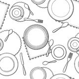 Tableware seamless pattern. Hand-drawn various dishware such as spoon, fork, knife, cups and plates at a table. Black and white colors. Vector background Royalty Free Stock Image