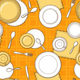 Tableware seamless pattern. Hand-drawn various dishware such as spoon, fork, knife, cups and plates on the yellow checkered tablecloth. Vector background Royalty Free Stock Photos