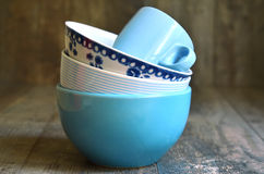 Tableware set in blue colours. Stock Images