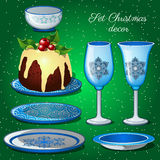 Tableware set with Christmas decor and chocolate Royalty Free Stock Photo