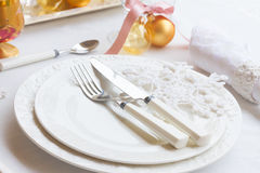 Tableware set for christmas Royalty Free Stock Photography
