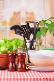 Tableware set. From different accessories in the kitchen Stock Image