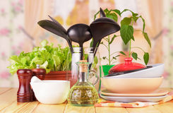 Tableware set with herbs Royalty Free Stock Photo