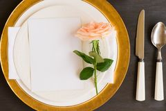 Tableware set on table Royalty Free Stock Image