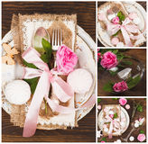 Tableware and silverware with roses, sweets and decorations Royalty Free Stock Photo