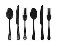 Tableware such as spoon, knife, fork silhouette. Stock Images