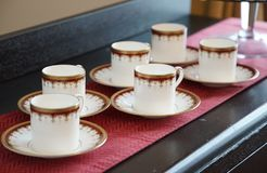 Tableware on the table. Tableware to drink the tea on the table Royalty Free Stock Photo