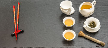 Tableware for traditional asian tea ceremony. Teapot, cups and r Stock Images