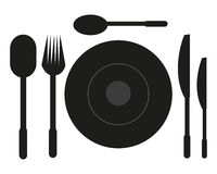 Tableware. Vector illustration of tableware on a white background Stock Images