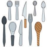 Tableware. Vector set of tableware cartoon royalty free illustration