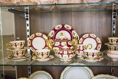 Tableware w gablocie wystawowej Zdjęcie Royalty Free