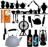 Tableware, watches, spinning wheel, lamp,. Tableware, watches, spinning wheel kitchen stock illustration