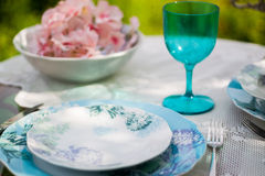 Tableware in white and blue colors Stock Image