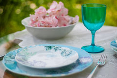 Tableware in white and blue colors Royalty Free Stock Images