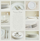 Tableware with white dishes. Collage of nine images of tableware with white dishes and silverware Stock Photos