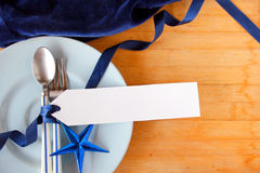 Tableware with white tag price Royalty Free Stock Photos