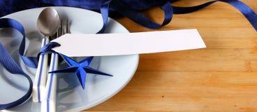 Tableware with white tag price Stock Photos