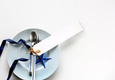 Tableware with white tag price Stock Photos