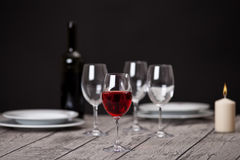 Tableware on wooden table Royalty Free Stock Photo