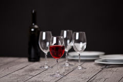 Tableware on wooden table Stock Image