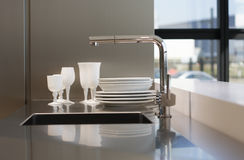 Tableware on worktop. Stock Image