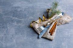 Tablewares dekorują z cynamonowymi kijami i choinką zdjęcia stock