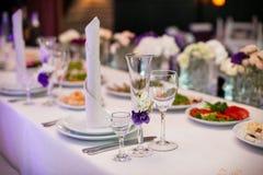 Tablewear and silverware closeup at wedding reception table Royalty Free Stock Photo