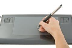 tablica graficzna ręce pióra Fotografia Stock