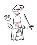 Tablier avec la vaisselle de cuisine illustration de vecteur