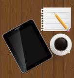 Tablilla abstracta del diseño, café, lápiz, paginación en blanco Fotografía de archivo