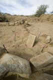 Tablilla antigua descubierta en desierto fotos de archivo