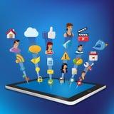 Tablilla con los iconos del Internet fijados Fotografía de archivo libre de regalías
