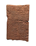 Tablilla de arcilla con la escritura cuneiforme Foto de archivo