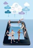 Tablilla de Digitaces como azul de la piscina stock de ilustración