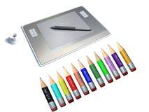 Tablilla gráfica con la pluma y el lápiz coloreado stock de ilustración