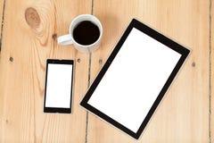 Tablilla y smartphone Fotografía de archivo libre de regalías