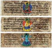 65570c7933eed Tablillas sánscritas tibetanas del rezo fotos de archivo