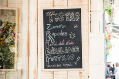 Tabloid menu. Menu board out of a restaurant Royalty Free Stock Photography