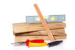 Tablones de madera con las herramientas del trabajo Imagen de archivo