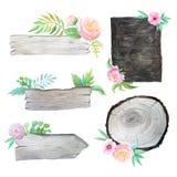 Tablones de madera de la acuarela con las flores y las hojas Fotografía de archivo