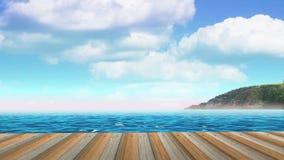 Tablones del embarcadero en la playa del mar Time lapse de nubes ilustración del vector