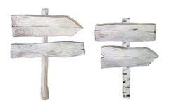 Tablones y poste indicador de madera de la acuarela Imagen de archivo