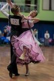 Tabolin Michail und europäisches Standardprogramm Zhukovskayas Alina Perform Juvenile-1 über nationale Meisterschaft lizenzfreies stockfoto