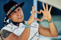 Taboo from the Black Eyed Peas Shows His Appreciation stock image