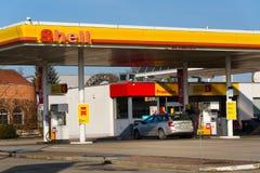 Royal Dutch Shell international oil and gas company logo on fuel station. TABOR, CZECH REPUBLIC - FEBRUARY 6 2018: Royal Dutch Shell international oil and gas Stock Photo